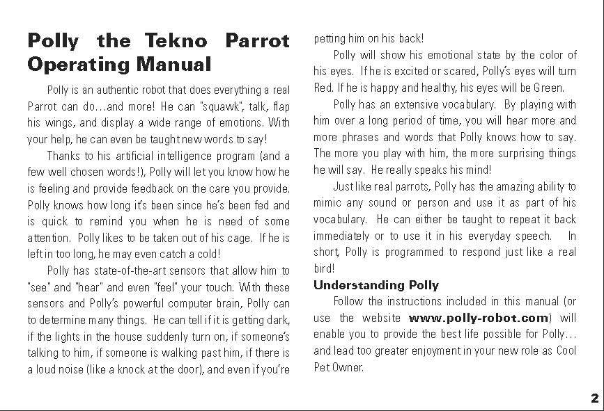 Polly the Tekno Parrot - The Old Robots Web Site