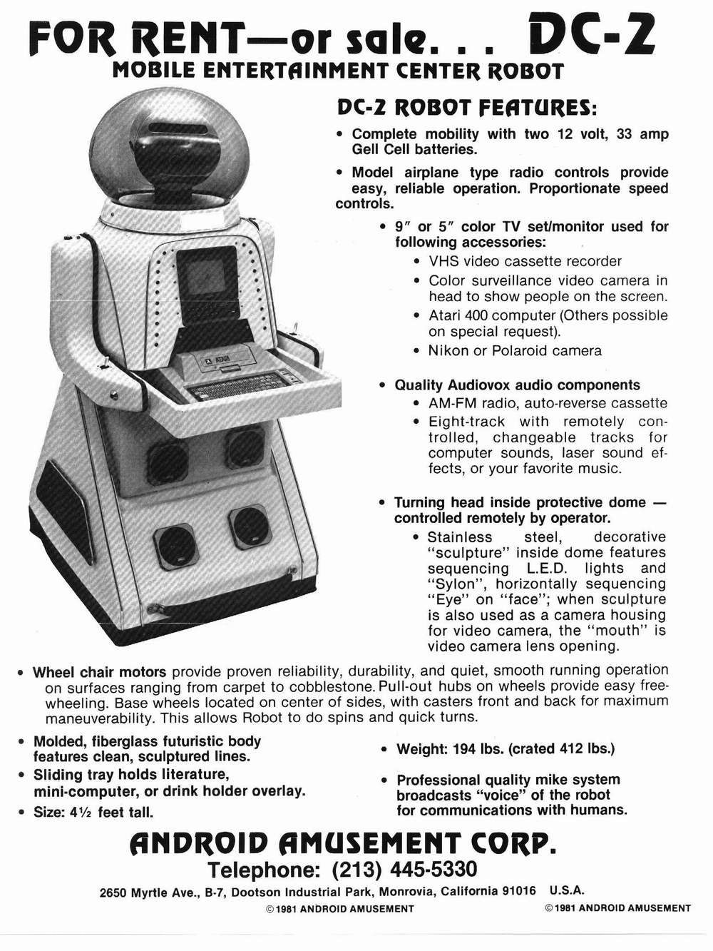DC-2 Robot by Android Amusement - The Old Robot's Web Site