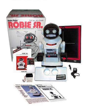 Robie Sr robots is a truely astounding robot that shows What companies did without computers. They did not have a onboard programmable computer but the programming is done by recording the movement commands to a regular cassette tape which can be played back at certain times by using the builtin clock