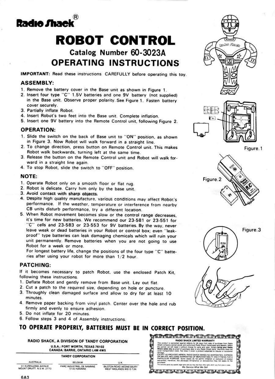Inflatable Robot Radio Shack Amico Saturne Starman Twiki The 3 Way Switch